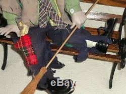 Vintage Dynasty 1976 Hobo Clown Emmett Kelly 22 Porcelain/cloth 15 Bench Doll