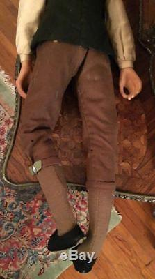 Vintage Edna Daly Hand Made Wax Colonial Victorian Style Gentleman Doll