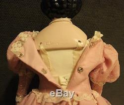 Vintage Emma Clear China Head Doll 16 Beautiful Pink Dress & Stand