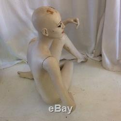 Vintage Female Mannequin Full body Hand Painted Head Torso Arms Legs Seated