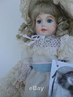 Vintage Fine All Porcelain Doll Jointed Legs & Shoulders Lace Dress 12
