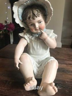 Vintage German Bisque Porcelaine 12 Baby Girl Piano Doll Rare