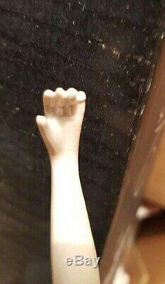 Vintage German Half Doll Pincushion/Porcelain Flapper Lady Arms Away (#9703)
