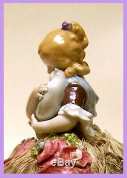 Vintage German Porcelain Pincushion Half Doll Liquidation Girl Holding Cat