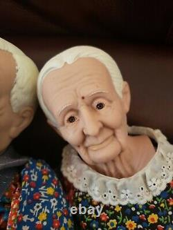 Vintage Grandma and Grandpa Couple Dolls in Patchwork William Wallace Jr Vinyl