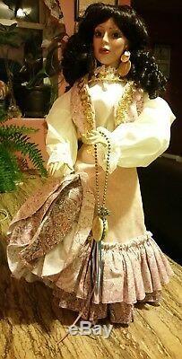 Vintage Gypsy Dancer Doll Gitana Coins Earings Black Hairs Red lips Blue eyes