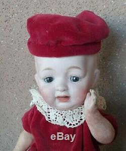 Vintage Hertel Schwab bisque character porcelain doll antique 8 cabinet