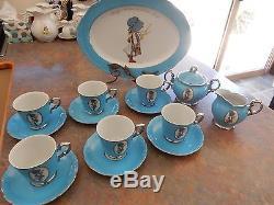 Vintage Holly Hobbie Blue Girl Tea Set Cups Saucers Sugar Bowl And Milk Jug +