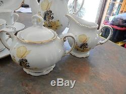 Vintage Holly Hobbie Yellow Girl Set Cups Saucers Sugar Bowl Tea Pot Jug +