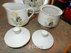Vintage Holly Hobbie Yellow Girl Set Tea Pot Sugar Bowl and Milk Jug RARE