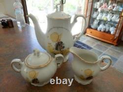 Vintage Holly Hobbie Yellow Girl Tea Pot Or Coffee Pot Sugar Bowl And Milk Jug