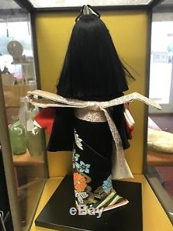Vintage JAPAN 16.5 Ichimatsu Girl Kimono Porcelain Geisha Doll with Case