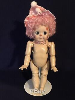 Vintage JDK 221 GOOGLY Porcelain Doll 11 Glass Eye Doll In Clown Suit