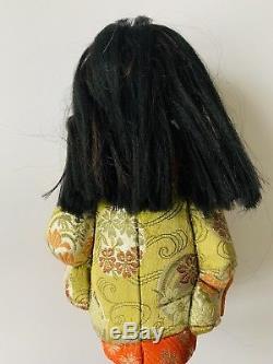 Vintage Japanese Little Girl Doll Porcelain Face Floral Silk Brocade $399.99