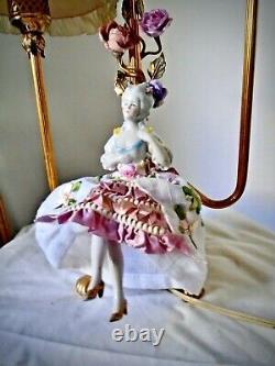 Vintage Lamp Ribbonwork On Pleated Chiffon Shades Porcelain Half Doll & Flowers