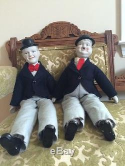 Vintage Laurel And Hardy Porcelain Dolls By Albert E Price Excellent Condition