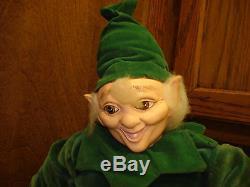 Vintage Leprechaun Elf Doll Figure Plush Porcelain Head & Hands Gnome 16t Ln