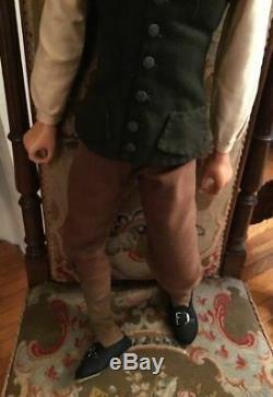 Vintage Lewis Sorensen Handmade Wax Colonial Victorian Style Gentleman Doll