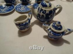 Vintage MIJ 22 piece set doll size BLUE WILLOW dish set 1 chip in the EXTRA cup