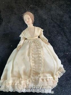 Vintage Miniature Dollhouse Doll Lady Victorian Dress Outfit