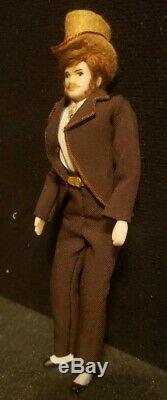 Vintage Miniature Dollhouse Georgian Gentleman Doll Mustache & Top Hat 6.5