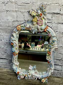 Vintage Mirror Wall Hanging Lady Doll Antique Porcelain Floral Victorian Mirror