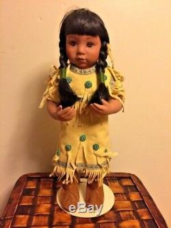 Vintage NATIVE AMERICAN INDIAN 14 DOLL Pocahontas Turquoise Beads LOVE SIGN