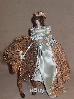 Vintage Ooak Porcelain Doll Riding Side Saddle On Paper Mache Horse