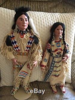 Vintage PAIR Native American Indian Man/Woman Porcelain DOLLS by J Belle