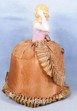 Vintage Pin Cushion Doll Porcelain Blonde Hair Original Pink Dress & Base Half