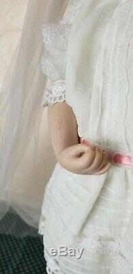 Vintage Porcelain 16 Blonde Doll White Pink Lace Wedding Dress & Stand