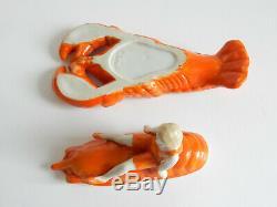 Vintage Porcelain Art Deco Half Doll on Lobster Trinket