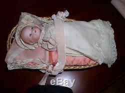 Vintage Porcelain Baby Doll In Basket, Very Old, 9 Long, No Box