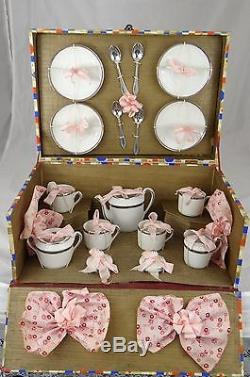 Vintage Porcelain China Doll House Child Miniature Toy Tea Set Never Unwrapped