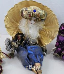 Vintage Porcelain Doll Lot 4 Girl Women Clown Jester Harlequin Reinart Faelens