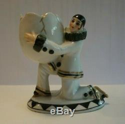 Vintage Porcelain Figurine Pierrot Egg Numbered Half Doll rel. Powder Puff