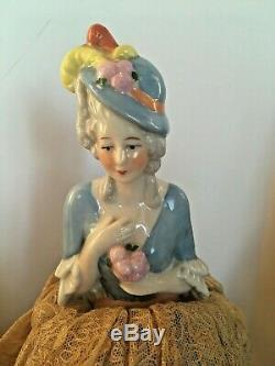 Vintage Porcelain German Half Doll Pin Cushions Feathered Hats Lot Of 2