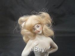 Vintage Porcelain Girl Pincushion Head / Half Doll Pin Cushion Germany