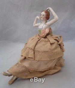 Vintage Porcelain Half Doll Girl Pin Cushion. Made in Japan. Approx 6.5 Tall