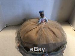 Vintage Porcelain Half Doll Hat Pin Cushion Boudoir Wire Frame French Victorian