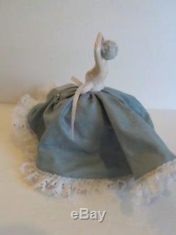 Vintage Porcelain Half-Doll Pin Cushion Boudoir Doll with Legs, Dressed