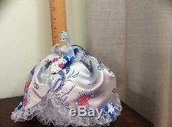 Vintage Porcelain Half Doll, Unique Silk Lace Pincushion Collectible Doll