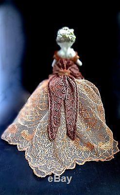 Vintage Porcelain Half Doll With Antique Passementerie & Net Lace Gown