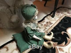Vintage Porcelain Hand Painted Mardi Gras/Xmas Sitting Doll Excellent