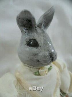 Vintage Porcelain Rabbit Head Victorian Style Dress Doll Paws Toes Hand Painted