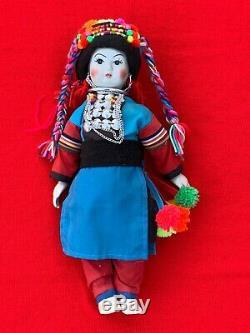 Vintage Porcelain Tribal Silver Ornate Doll Thailand Hill Tribe 13 Woman sj3j