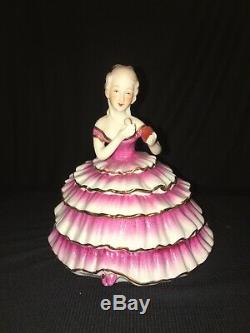 Vintage Powder Jar Victorian Lady Half Doll Art Deco Girl Porcelain Trinket Box