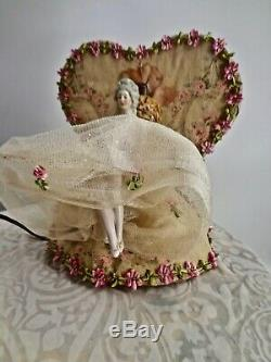 Vintage Pretty Night Light With Porcelain Half Doll With Legs Rose Print Fabric