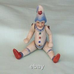 Vintage Pulcinella Bisque French German Mignonette Clown Doll c1930s Small Size