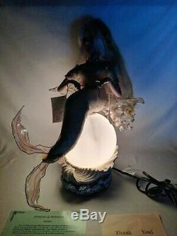 Vintage RARE Duck House Heirloom Porcelain Doll Mermaid Lamp MINT withCOA and box